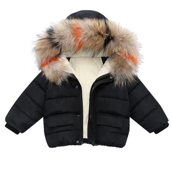 top popular Fashion Baby Boys Jackets Fur collar Autumn Winter Kids Warm Thick Parkas Jacket Children Outerwear Girl Coat Boys Girls Clothes 2021