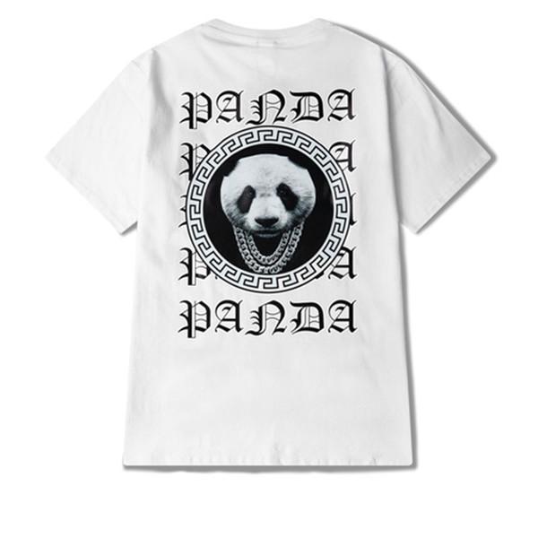 2019 Brand New Mens Designer T Shirt Mens Maniche corte di alta qualità Bianco Moda Carino Panda Stampa Uomo Donna sciolto girocollo Tees
