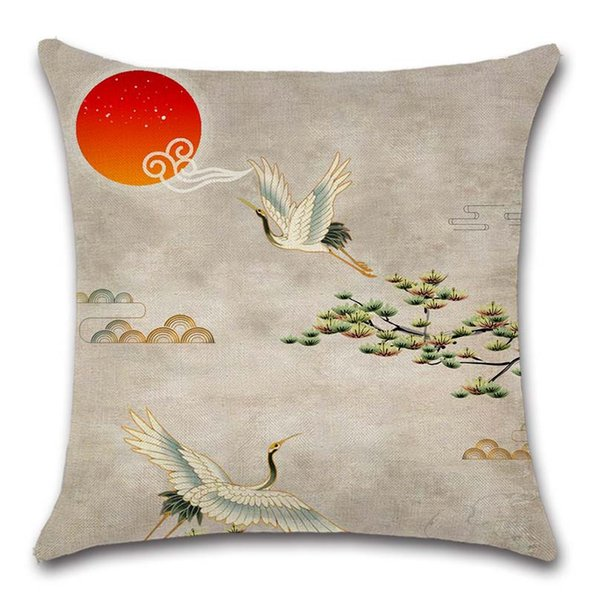 Sensational Crane View Sunrise China Retro Style Cushion Cover Decoration Home Sofa Chair Seat Kids Living Room Gift Friend Pillowcase Discount Outdoor Cushions Machost Co Dining Chair Design Ideas Machostcouk