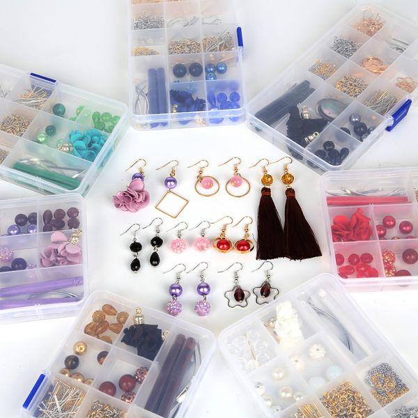 Top 1 Boîte 15 Grille DIY Perles Kit Multicolore Gland Charme Acrylique Perles Crochets Pendentif Pour Boucle D'oreille Fabrication de Bijoux Accessoires