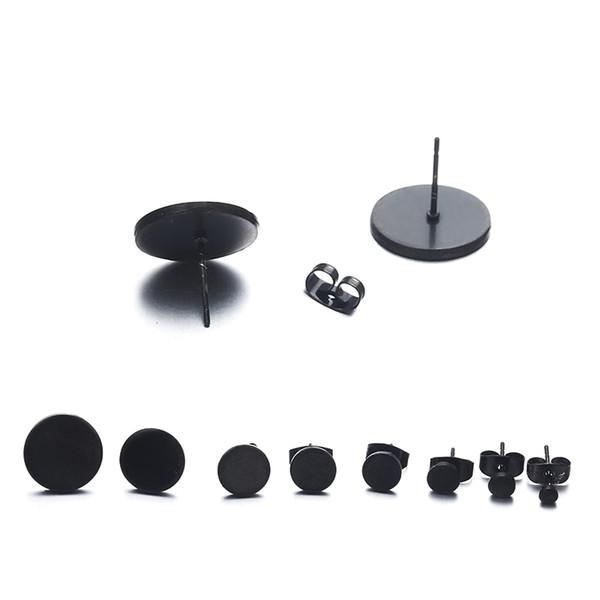 E0296Fashion Simple Black Korean Stainless Steel Stud Earrings For Men Round Shaped Women Earrings Trendy Ear Jewelry Girls Gift