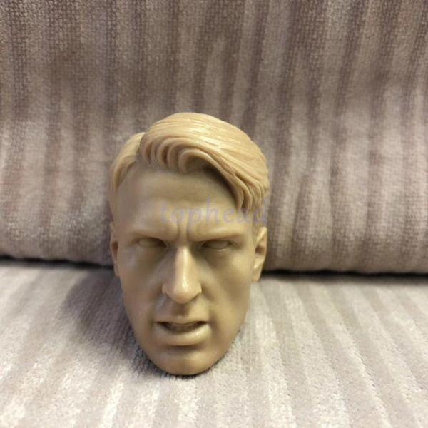Frete Grátis Ordem Mista 1/6 escala Cabeça Sculpt Em Branco Capitão América Soldado Inverno Chris Evans Sem Pintura # 0000