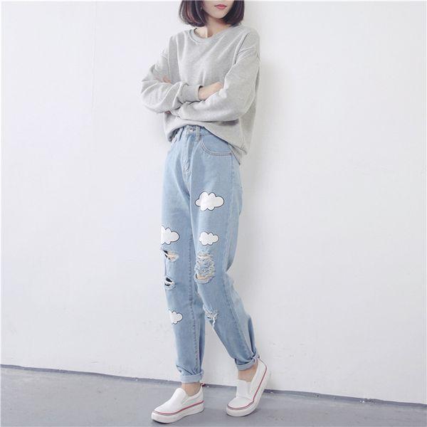 Fashion- New Women Jeans Cloud Print Ripped Jeans Cotton Slim Vintage High Waist Denim Jeans Boyfriend Cuffs for Women Harem Pants