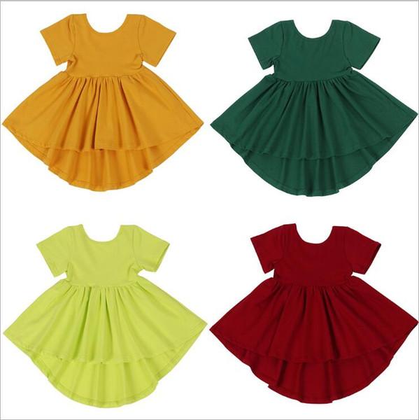 Mädchen Kleider Baby Candy Farbe Unregelmäßige Kleider Kurzarm Backless Kleid Solide Baumwolle Kleid Prinzessin Boutique Kleid A-Line Casual B5906