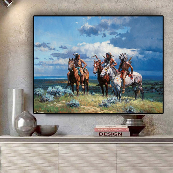 1 Pcs Native American Indian Ride Horse Portrait Painting Canvas Posters and Prints Scandinavian Wall Art Picture for Living Room No Frame