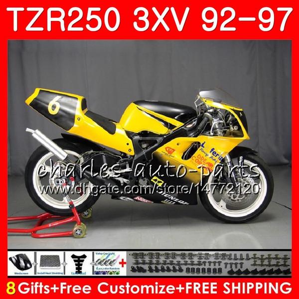 Corpo giallo bianco Per YAMAHA TZR 250 TZR250 3XV 92 93 94 95 96 97 YPVS RS 119HM.72 TZR250RR TZR-250 1992 1993 1994 1995 1996 1997 Carenatura