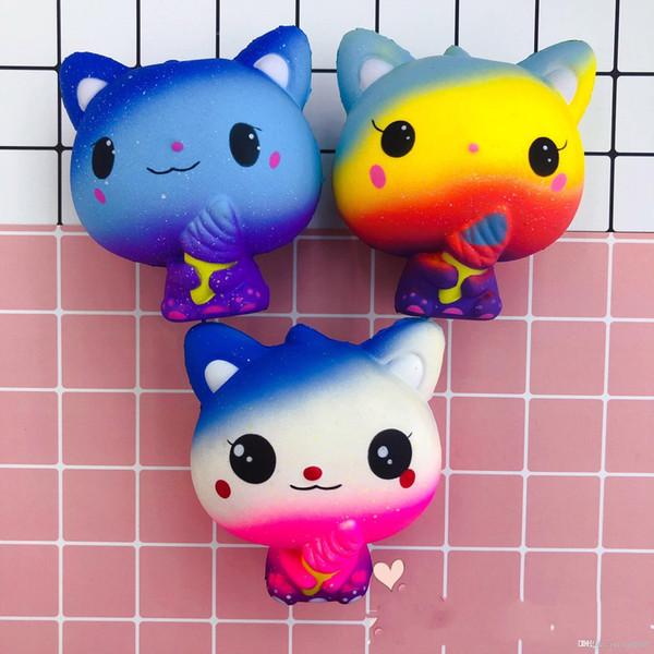 New Rainbow Cartoon Ice Cream Cat Kitty Squishy Slow Rising Cute Jumbo Strap Soft Squeeze Scented Bread Cake Toy Gift Kid Fun 66