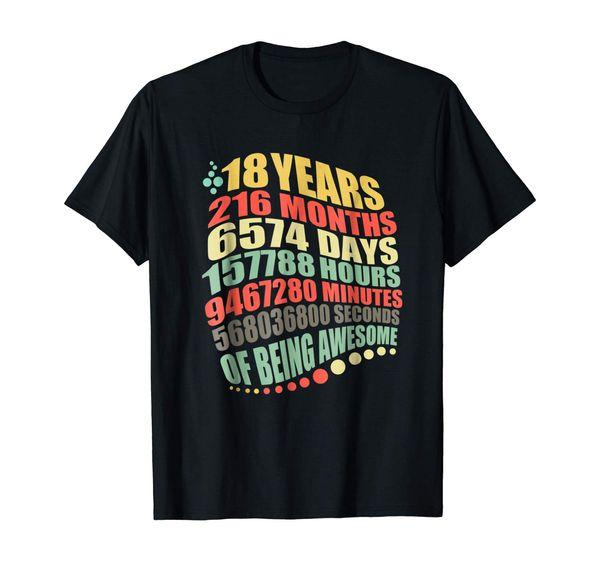 18 anos de idade 216 meses tshirt vintage rétro 18 aniversário