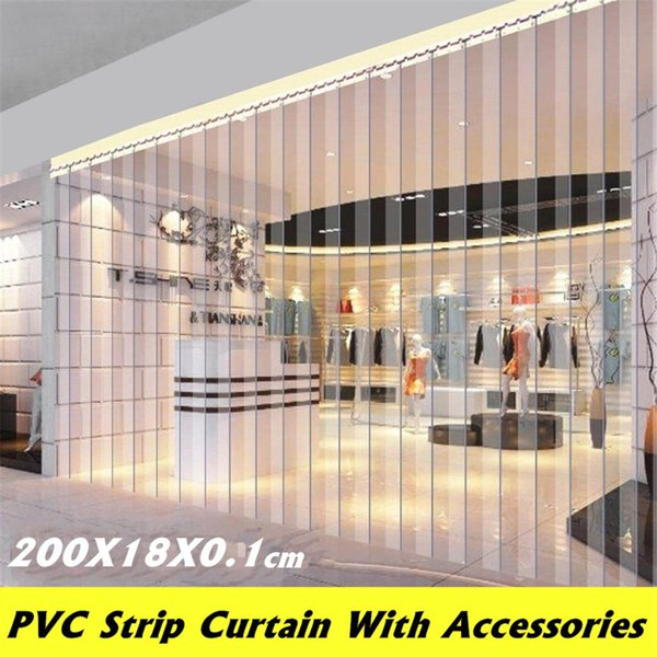 PVC Plastic Strip Curtain Freezer Room Door Strip Kit Hanging Rail Transparent Curtains Windproof Heat Cold Resist