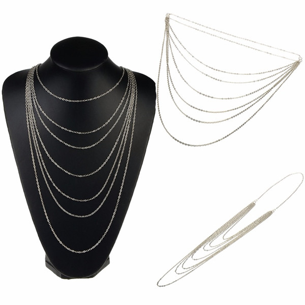 Multi Layer Necklace Fashion Jewelry Vintage Retro Style Silver Color 7 Layer Pendant Necklace Sweater Long Chain Tassel Necklace