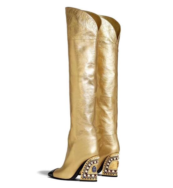 hot_style1 / Mulher Outono Inverno Moda Marca Chunky Heel De Couro De Ouro Sobre O Joelho Botas Mulher T-show Dedo Apontado Rhinestone Pérola Botas Até o Joelho
