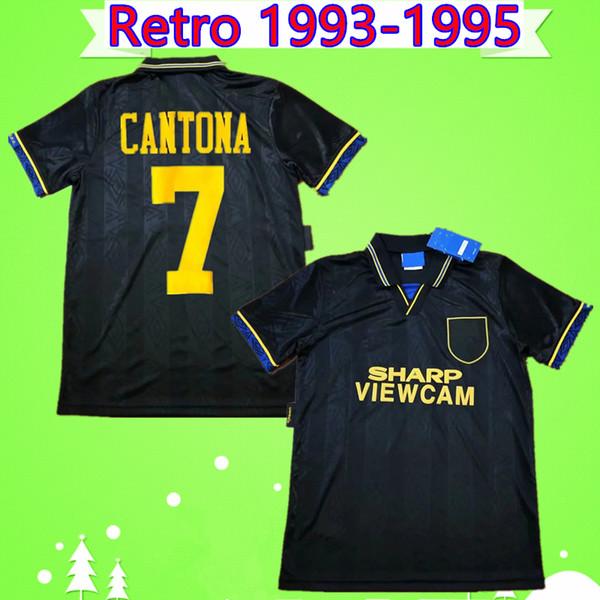 Manchester United retro jersey Cantona Hughes Giggs Ince RETRO MANCHESTER 1993 1994 1995 UNITED uzakta siyah FUTBOL GÖMLEK 93 94 95 Vintage futbol forması klasik MAN UTD