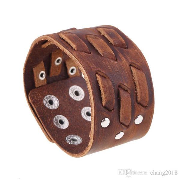 11 styles Nouveaux Hommes Marron Large Bracelet En Cuir Religieux Nœud Slave Sigil Gothique Viking Clouté Manchette Wristban Bijoux Pksp6-7