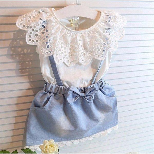 i vestiti di estate dei bambini di buona qualità regolano le ragazze casuali le ragazze casuali di estate 2pcs regolano il vestito vestito dai bambini del vestito dal denim del cotone