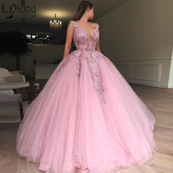 Pink Appliques Beaded Puffy Prom Dress Ball Gown Sleeveless Evening Event Party Wear Maxi Gown Lady Graduation Custom Made Ball Dresses Long