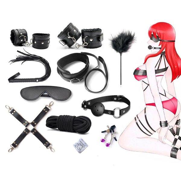 10 PC / sexo de los productos eróticos y juguetes para adultos sexo BDSM Bondage Set Mano s Cuerda del pezón abrazaderas Gag Whip Juguetes Sexuales para Parejas Y191207