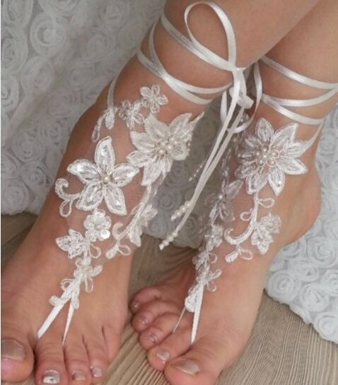 Ivory Bridal Sandals Pearl Beaded Ribbon Adjustable Flowers Wedding Barefoot Sandals Sexy Anklet Beach Pool Charming Garden