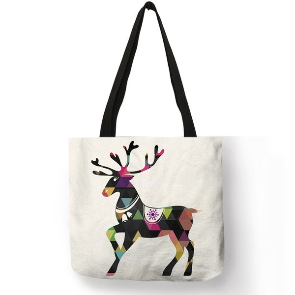 Hot Animal Printing Unisex Handbag Geometric Floral Deer Pattern Shoulder Bags Eco Friendly Linen Storage Shopping Decor Totes