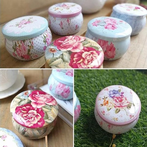 Caixas de lata de chá flor portátil favores decoração do partido suprimentos tambor em forma de recipiente de chá latas de presente pacote idéias do chuveiro de casamento sn3263