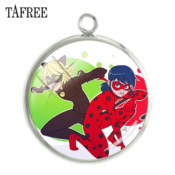 TAFREE Lady beetle girl and black cat Charms Cartoon Fashion Picture Pendants 20mm glass cabochon handmade New Jewelry LB106