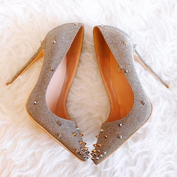 Повседневная дизайнер Sexy lady женская мода насосы блеск strass шипы точка toe туфли на в