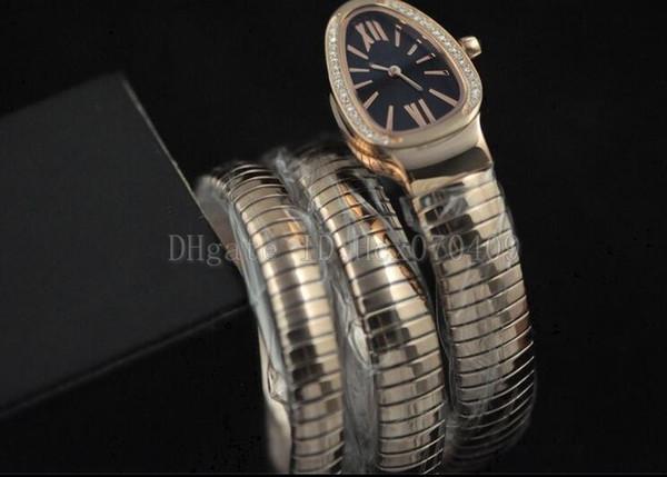 7 colori in scatola originale Ladies Luxury Watch Turbogas Serpenti in oro rosa con diamanti lunetta quadrante nero orologio da donna al quarzo Orologi da donna