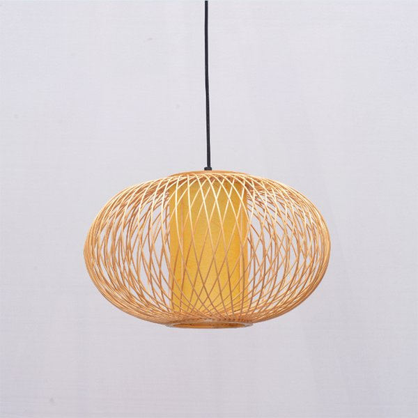 Handmade Bamboo Lamp Wicker Rattan Wave Shade Pendant Light Vintage Japanese Lamp Suspension Home Indoor Dining Table Room
