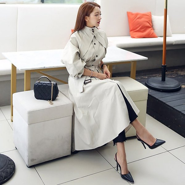 Damenmode Herbst Winter Langen Graben Korean Elegante Mantel Stehkragen Hohe Taille Lace Up Frauen Lose Windjacken