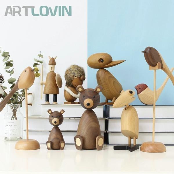 Nordic Style Danmark Wooden Animal Figurines Wood Bear/dog/bird/monkey Figures Home Decor Ornaments Crafts Boy Toys & Hobbies J190713