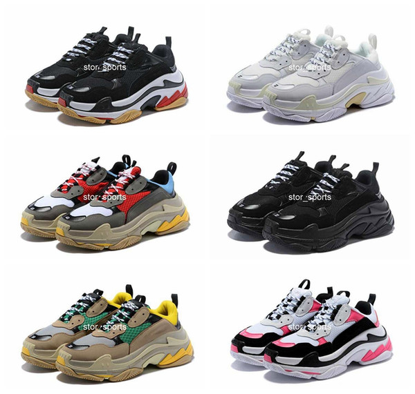 great look classic styles release info on Compre 2019 Moda Balenciaga Triple S Shoes 17FW Triplo S Sneaker Triplo S  Casuais De Luxo Pai Sapatos Para Homens Das Mulheres Bege Preto Tênis De ...