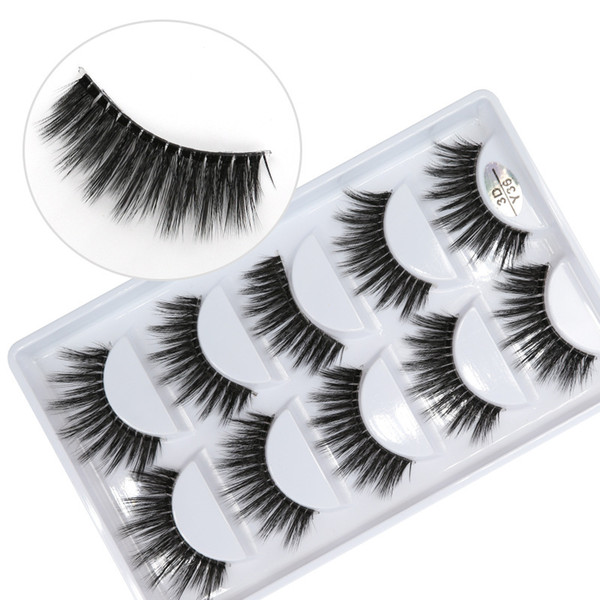 3D-Y36 5pairs/set Y series transparent terrier False EyeLashes 5 Pairs 3D Natural soft silk Eyelashes Handmade eyelashes