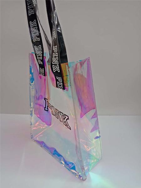 Pink laser Handbags Transparent PVC Hologram Messenger Bag Women girls Pink letter starry sky Jelly candy Shoulder Bag Tote Duffle vs hot