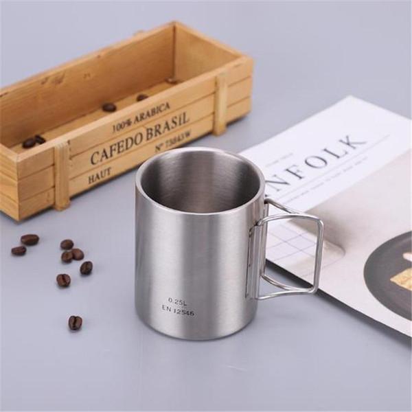 Nova simples copo direto de aço Inoxidável copo dobrável copo de acampamento caneca de café esportes ao ar livre produtos T8I027