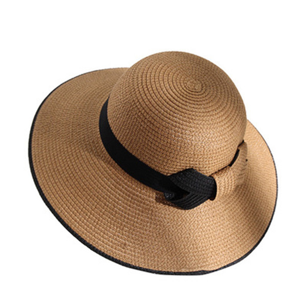 Hepburn Lady Retro Caps Women Fashion Design Hat Black and White Bow Tie Caps Holiday Beach Hat Girl Sunscreen Straw Hat