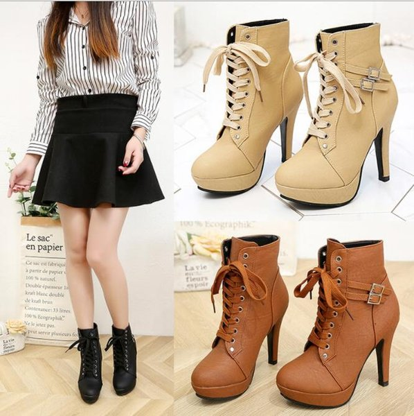2019 Lace up Martin boots ankle boots fashion lady waterproof platform super high heel stiletto side zipper boots women's shoes