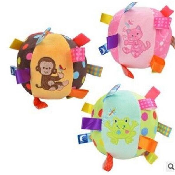 Juguetes para bebés Pelota de animales Super suave Mano de peluche Captura con Bell Comfort Con sonido 10fl F1