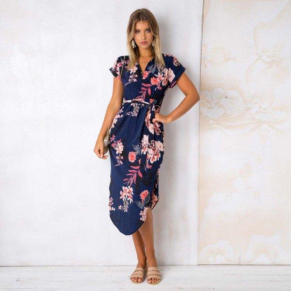 Seksi Derin V Boyun Backless Yaz Elbise Kadınlar Çiçek Baskı Bohemian Maxi Elbise Düzensiz Uzun Elbise Vestidos