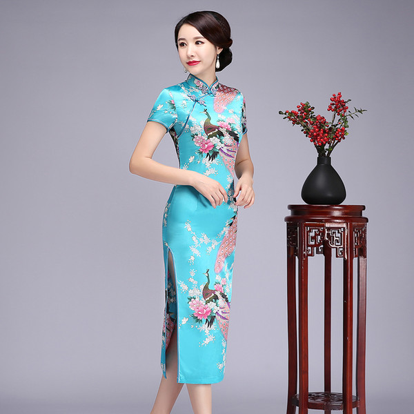 Print Floral Sexy Chinese Cheongsam Qipao Lady Vintage Long Rayon Dress Novelty Evening Party Prom Vestidos Gown S-6XL 19507
