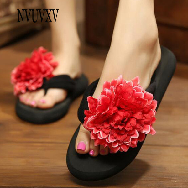 2019 new style Candy color women shoes summer slippers flowers decorative sandals repair casual beach shoes Wear resistant sh537