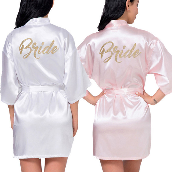 top popular Women's Satin Wedding Kimono Bride Gold Robe Sleepwear Bridesmaid Robes Pajamas Bathrobe Nightgown Spa Bridal Robes Dressing Gown 2021