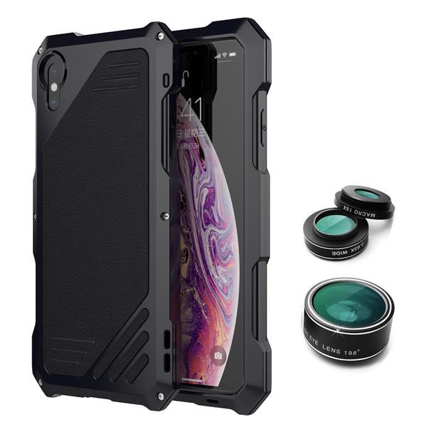 Cas de téléphone Armor Metal pour Iphone Xs max XR S9 S9 Plus S8 Armor Couverture en acier étanche en alliage d'aluminium ultra-mince cas de téléphone portable caméra objectif