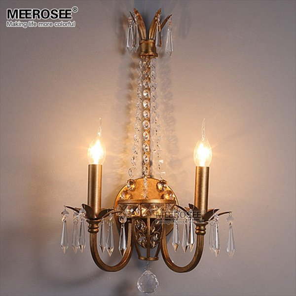 America Style Crystal Wall Light Lamp Modern Wall Sconces Lighting Fixture Reading Room Bedroom Bathroom Bracket Aisle Beside light