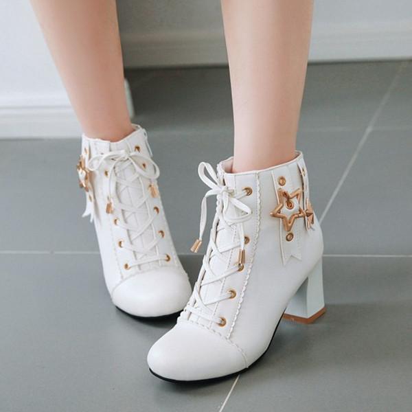 PXELENA Botines de moda coreana para niñas 2019 Autumn Star Rivet Lace Up Chunky Block High Heels Party Wedding Shoes White Pink