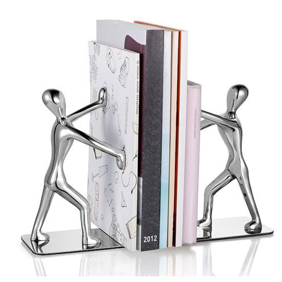 top popular Fashion Cool Metal Stainless Steel Zinc Alloy Human Shaped Bookend Bookshelf for School Office Stationery Gifts Supplies 2021