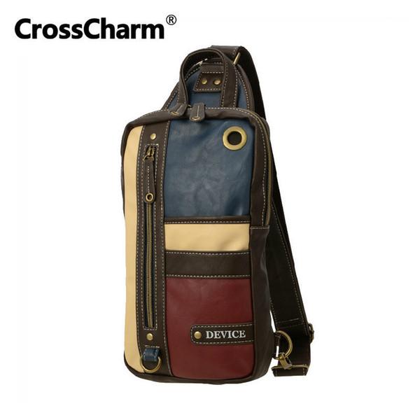 CrossCharm Masculino Bolsa de microfibra couro Crossbody Sling Messenger Bag Ombro Peito Pack para Homens Patchwork Paneled