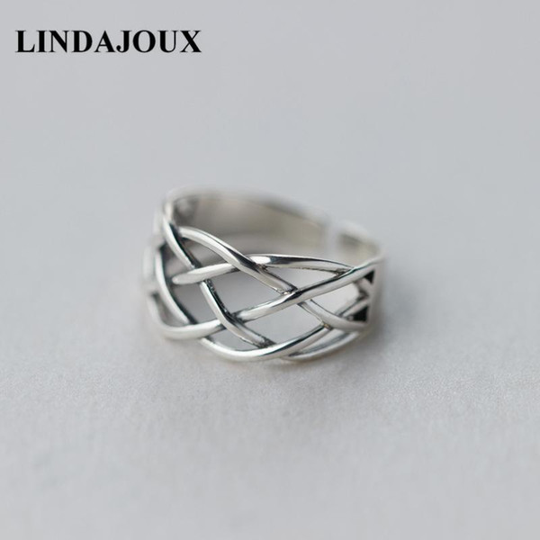 LINDAJOUX 925 Sterling Silver Vintage Braid Net Charm Open Ring For Women S925 Wedding Engagement Rings