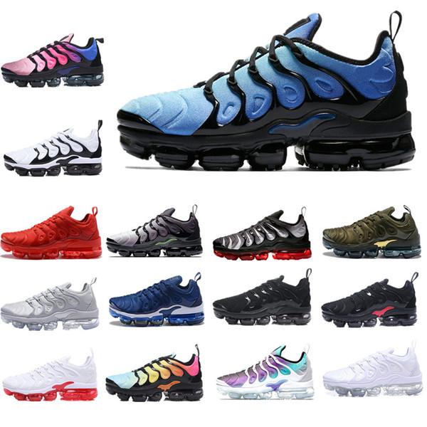 2019 TN Plus Almofada de Ar Sapatos Clássicos Ao Ar Livre Run Sapato Uva Azul Preto Branco Esporte Tênis de Choque Homens Azeite De Prata Em Metálico