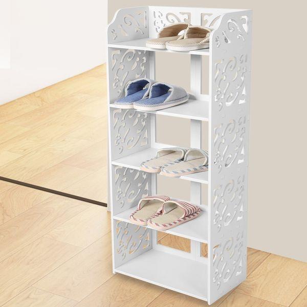 Pvc Board 5 Tier Cabinets White Hollow Out Shoe Rack Storage Organiser Shelf Holder Stand Bookshelf Cd Display Q190610