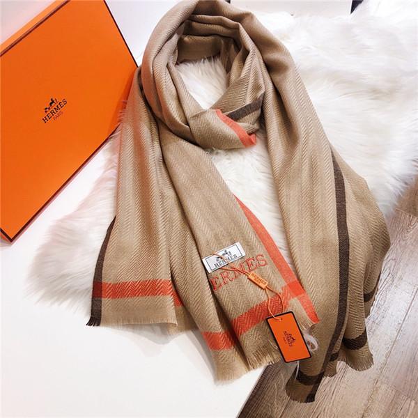 Marques de mode foulards pour hommes et femmes, automne design de luxe et écharpes en laine d'hiver, toucher doux lisse texture.180 * 70 cm.