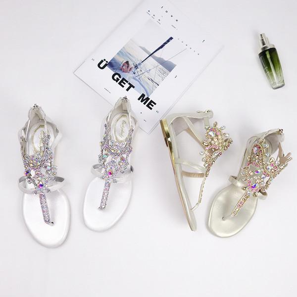 Sparkle Crystal Beaded Bohemian Wedding Shoes 2019 Summer Flip Flops Women Summer flat Bottom Beach Boho Bridal Sandals